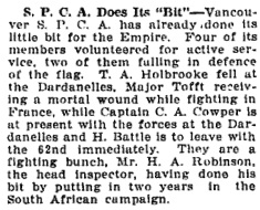 Vancouver Daily World, October 22, 1915, page 20, column 3.