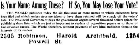 Vancouver Daily World, October 21, 1911, page 6 and page 33, column 7 [excerpts].