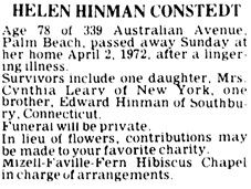 The Palm Beach Post (West Palm Beach, Florida), April 3, 1972, page 28, column 3.