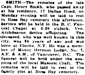 Victoria Daily Colonist, February 9, 1921, page 7, column 4; http://archive.org/stream/dailycolonist0121uvic_32#page/n6/mode/1up.