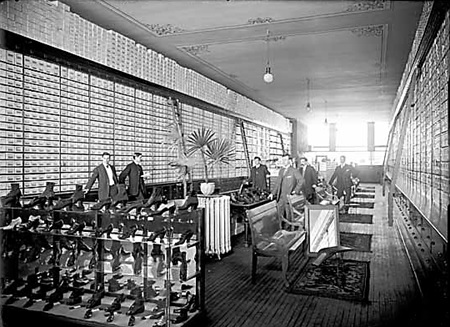 Inside Stark's shoe store, 1908, Vancouver Public Library, VPL Accession Number 7459; http://www3.vpl.ca/spePhotos/LeonardFrankCollection/02DisplayJPGs/77/7459.jpg.