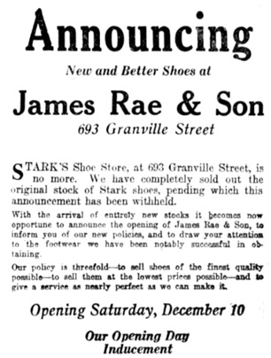 Vancouver Daily World, December 8, 1922, page 7, columns 6-8 [portion of advertisement].