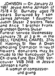 Vancouver Sun, January 26, 1987, page D7, column 7; https://news.google.com/newspapers?id=m6NlAAAAIBAJ&sjid=_owNAAAAIBAJ&pg=1258%2C2618144 [link leads to column 2; death notice is in column 7].