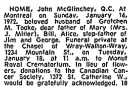 Montreal Gazette, January 18, 1972, page 36, column 7; https://news.google.com/newspapers?id=5hMyAAAAIBAJ&sjid=-aEFAAAAIBAJ&pg=5734%2C2973467 [link leads to column 5; death notice is in column 7].