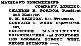 Henderson's Greater Vancouver City Directory, 1919, page 703.