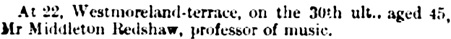 Middleton Redshaw, death notice, Newcastle Guardian, and Tyne Mercury (Newcastle-Upon-Tyne, England), June 4, 1864; page 8, column 6.