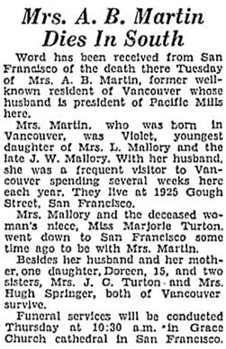 Vancouver Sun, September 27, 1933, page 2, column 3; https://news.google.com/newspapers?id=SPRlAAAAIBAJ&sjid=8IgNAAAAIBAJ&pg=4966%2C2644959.