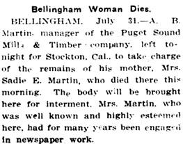 The Evening Statesman (Walla Walla, Washington); July 31, 1909, page 1, column 3.