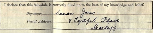 """""""England and Wales Census, 1911,"""" Susan Jones, Cardiff, Class: RG14; Piece: 32068; Schedule Number: 93; Ancestry.com. 1911 Wales Census [database on-line]. Provo, UT, USA: Ancestry.com Operations, Inc., 2011."""