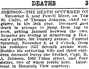 Vancouver Daily World, November 7, 1919, page 18, column 1.