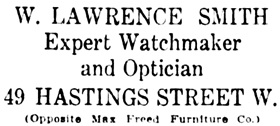 Vancouver Daily World, June 26, 1909, page 47, column 5.