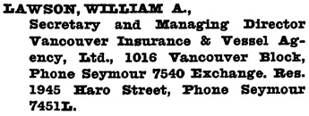 Henderson's Greater Vancouver City Directory, 1917, page 597.