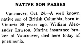 Nanaimo Daily News, October 24, 1930, page 1, column 6.