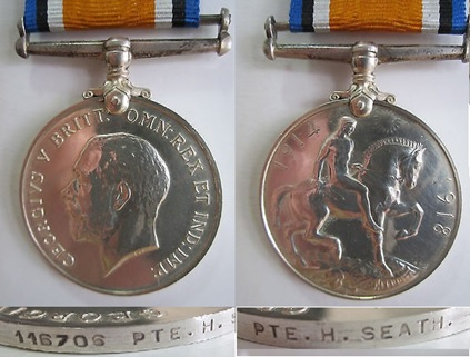 WW1 CEF Silver War Medal to Henry Seath, who was born in Folkestone Kent England and attested for service at Victoria B.C. in Feb 1916. Impressed along edge 116704 PTE. H. SEATH 11-C.M.R; WorthPoint; https://www.worthpoint.com/worthopedia/canada-w-british-war-medal-pte-seath-509032670.