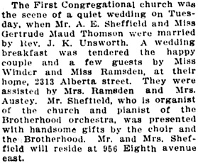 Vancouver Daily World, March 6, 1913, page 9, column 4.