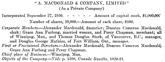 A. MacDonald and Company Limited; synopsis of letters patent; Sessional Papers of the Dominion of Canada 1922, page 142; https://archive.org/stream/n08sessionalpaper58canauoft#page/140/mode/1up.