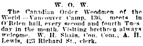 Vancouver Daily World, October 25, 1905, page 10, column 3.