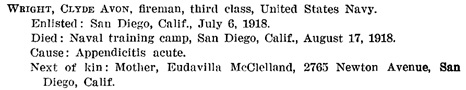 Ancestry.com. U.S., Navy Casualties Books, 1776-1941 [database on-line]. Provo, UT, USA: Ancestry.com Operations, Inc., 2012. Name: Clyde Avon Wright; Death Date: 17 Aug 1918; Death Place: San Diego, California; Branch of Service: US Navy; Mother: Eudavilla McClelland; Volume Title: Officers and Enlisted Men, 1917-1918.