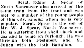 Vancouver Daily World, May 26, 1916, page 7, column 1. [Note: name is Edgar J. Spear rather than Wilfred Edgar Spear.]