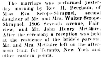 Social and Personal, Vancouver Daily World, June 3, 1910, page 3, column 4.