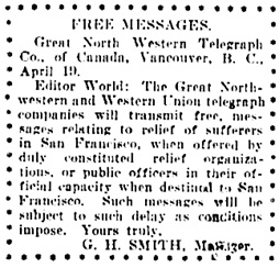 Vancouver Daily World, April 20, 1906, page 8, column 5.