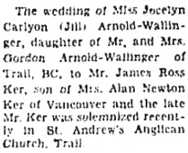 The Ottawa Journal, October 5, 1956, page 16, column 1 (portion of article).