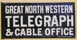 Great North Western Telegraph porcelain sign; PorcelainSigns.com; http://www.porcelainsigns.com/image-galleries/other-signs-f-m/great-north-western-telegraph-porcelain-sign/