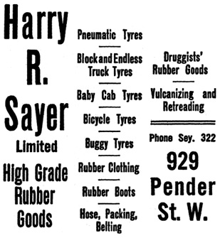 Henderson's Greater Vancouver City Directory, 1914, Part 2, page 1196 [side bar, selected and edited image].
