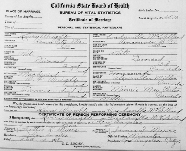 """California, County Marriages, 1850-1952,"" database with images, FamilySearch (https://familysearch.org/ark:/61903/1:1:K8DZ-D4M : 8 December 2017), Harry Wright and Eudavilla Mcclelland, 04 Dec 1918; citing Los Angeles, California, United States, county courthouses, California; FHL microfilm 2,074,205."