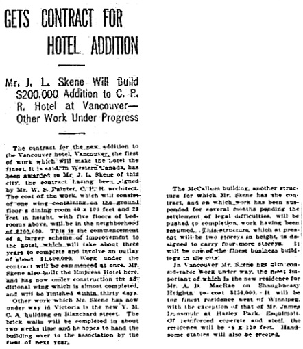 Victoria Daily Colonist, October 9, 1910, page 3, column 4; http://archive.org/stream/dailycolonist53262uvic#page/n2/mode/1up.