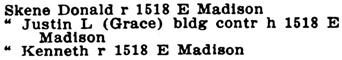 Seattle, Washington, City Directory, 1917, page 1457, column 1.