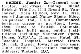 Who's Who in Western Canada, 1911, page 343 [name given as Justice L. Skene]; https://open.library.ubc.ca/collections/bcbooks/items/1.0348960#p346z-3r0f: