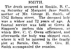 Vancouver Daily World, September 23, 1907, page 7, column 4.