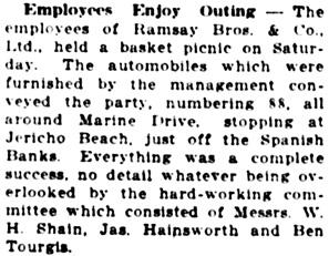 Vancouver Daily World, July 27, 1915, page 16, column 4.