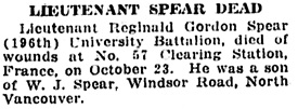 Vancouver Daily World, October 31, 1918, page 9, column 6.
