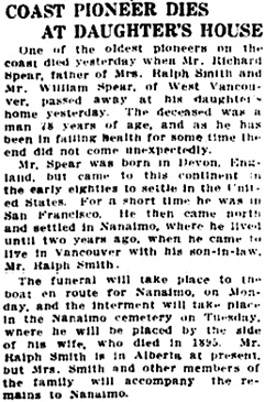 Vancouver Daily World, December 13, 1913, page 17, column 3.