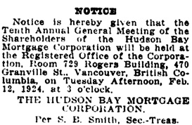 Vancouver Daily World, February 2, 1924, page 29, column 3.