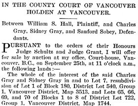 British Columbia Gazette, September 24, 1914, page 5768, column 2; https://archive.org/stream/governmentgazett54nogove_e9p0#page/5768/mode/1up [first part of notice].