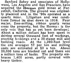 Pacific Coast Mining Activities, The Mining Journal, (Phoenix, Arizona), December 30, 1930, page 39, column 2; http://vredenburgh.org/mining_history/pdf/AMJ-1930.pdf.