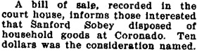 Coronado Eagle and Journal, Number 37, 26 January 26, 1918, page 1, column 2.