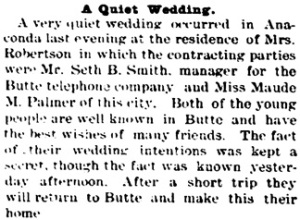 The Butte Daily Post (Butte, Montana), October 30, 1891, page 4, column 1.