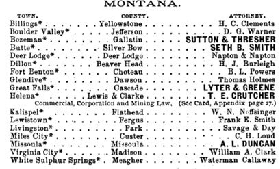 Boyer's Legal Directory of the United States and Canadas, Philadelphia, Pennsylvania, Joseph A. Boyer, 1896, page 330; https://books.google.ca/books?id=2P5CAQAAMAAJ&pg=PA330&dq=butte+montana++%22seth+b+smith%22#v=onepage&q=butte%20montana%20%20%22seth%20b%20smith%22&f=false.