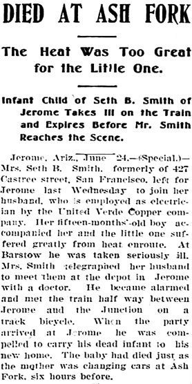 Arizona Republic (Phoenix, Arizona), June 25, 1899, page 1, column 5.