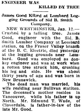 The Chilliwack Progress, January 18, 1917, page 3, column 4.
