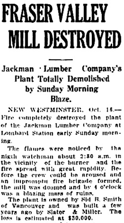 Vancouver Daily World, October 16, 1916, page 11, column 2.