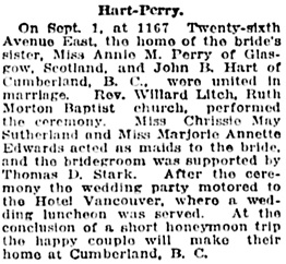 Vancouver Daily World, September 6, 1919, page 7, column 6.