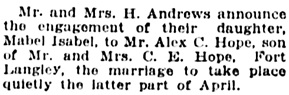 Vancouver Daily World, April 18, 1922, page 7, column 7.