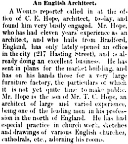 Vancouver Daily World, July 13, 1889, page 4, column 2.