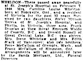 Victoria Daily Colonist, February 8, 1949, page 15, column 2; http://archive.org/stream/dailycolonist0249uvic_5#page/n14/mode/1up.