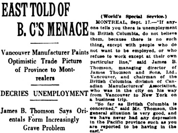 Vancouver Daily World, September 17, 1921, page 1, column 4 [portion of article].